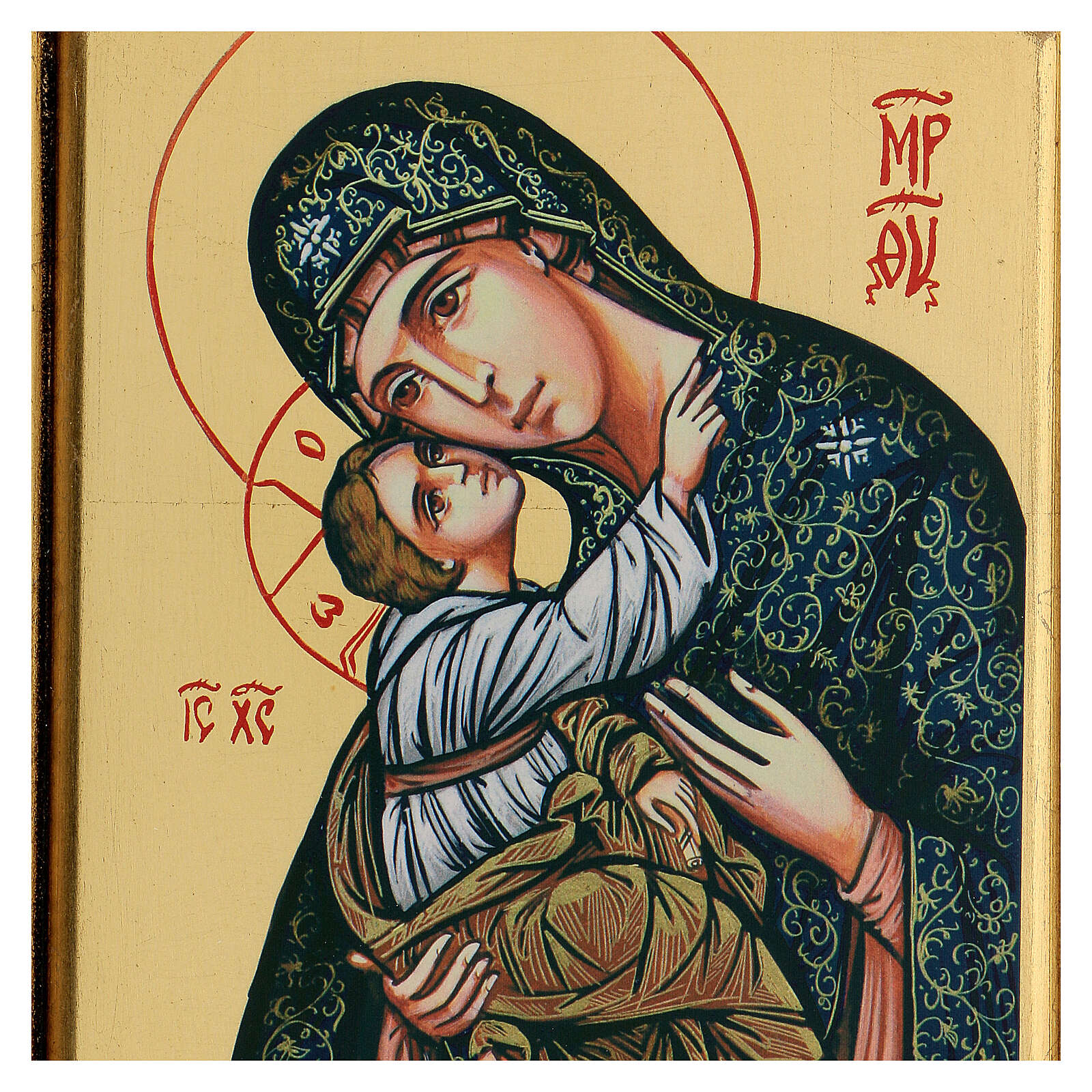 Icona Madonna Bambino serigrafia intaglio 32x22 cm 4