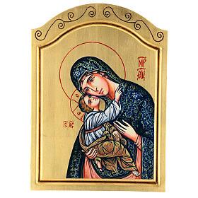 Icono Virgen con Niño serigrafado rematado a mano 44x32 cm s1