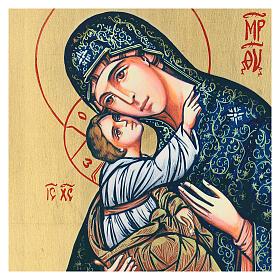Icono Virgen con Niño serigrafado rematado a mano 44x32 cm s2