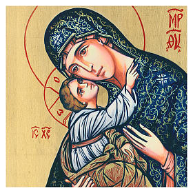 Icône Vierge à l'Enfant sérigraphie finie à la main 44x32 cm s2