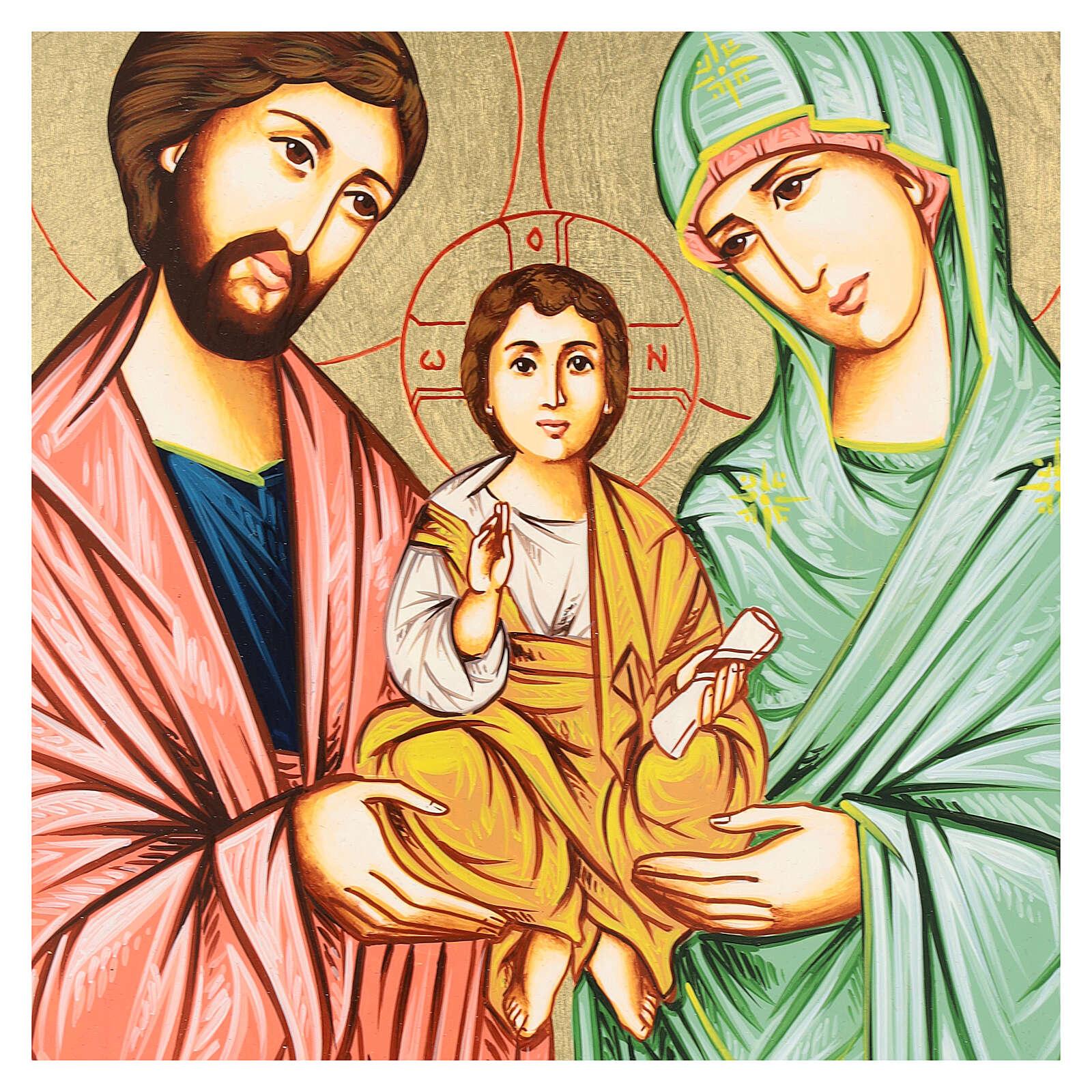 Icono Sagrada Familia pintado a mano Rumanía 32x22 4