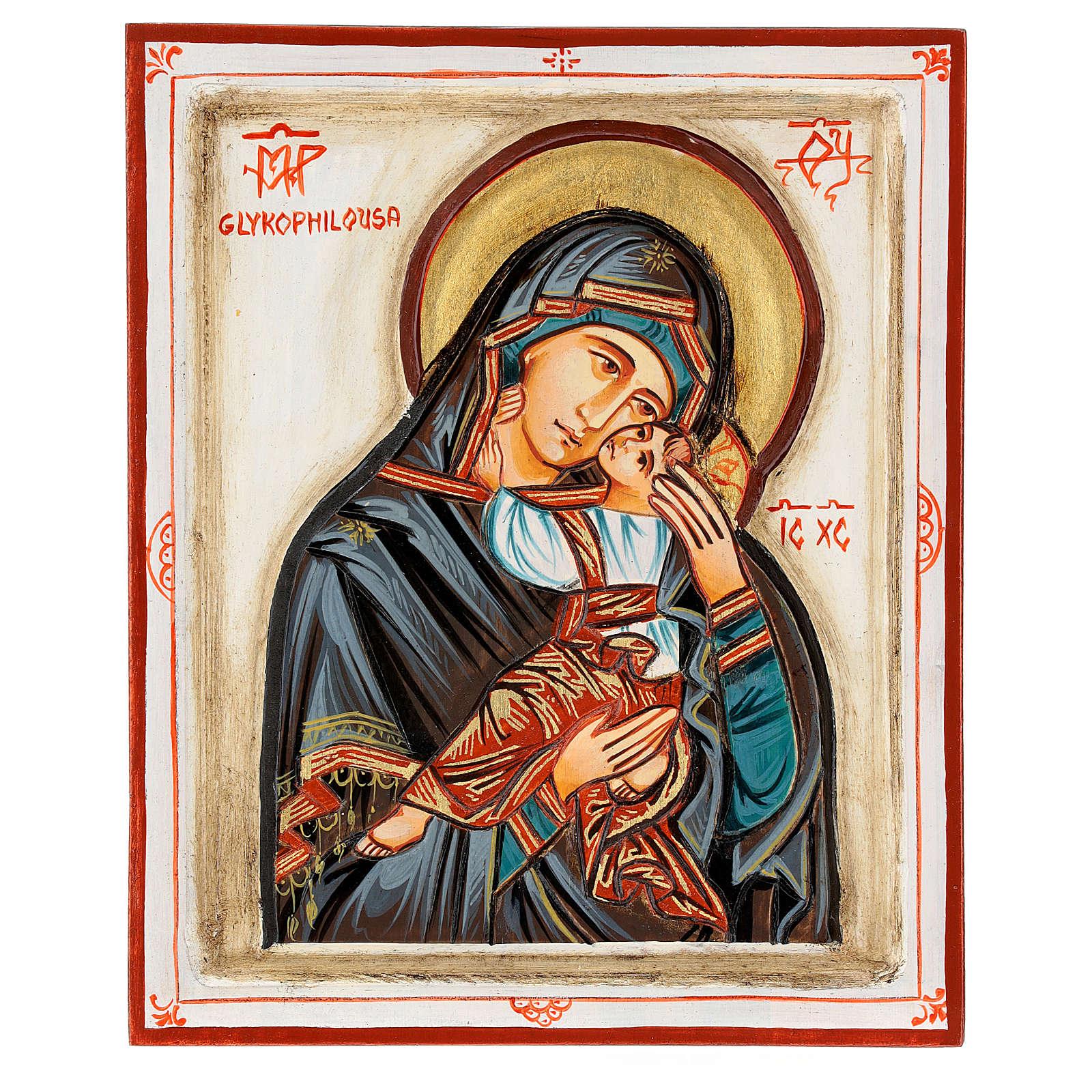 Icona Madonna Glykophilousa intagliata 22x18 cm Romania dipinta 4