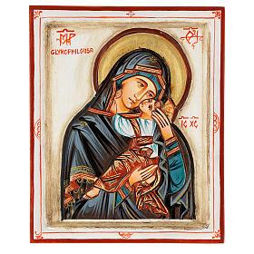 Icona Madonna Glykophilousa intagliata 22x18 cm Romania dipinta s1