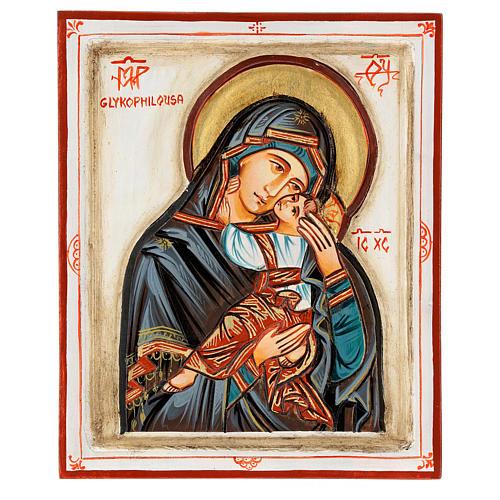 Icona Madonna Glykophilousa intagliata 22x18 cm Romania dipinta 1