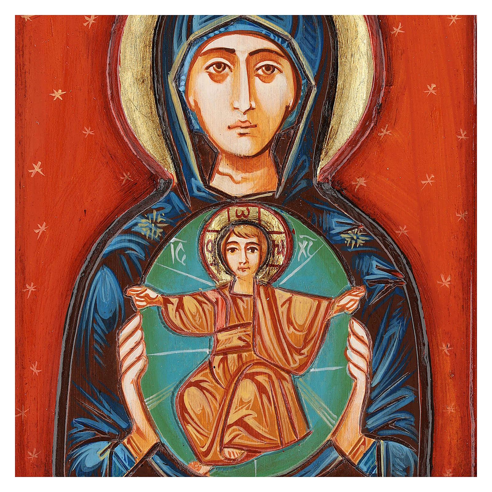 Icona Madonna col Bambino intagliata dipinta a mano Romania 4