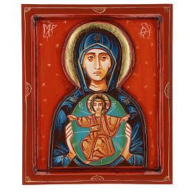 Icona Madonna col Bambino intagliata dipinta a mano Romania s1