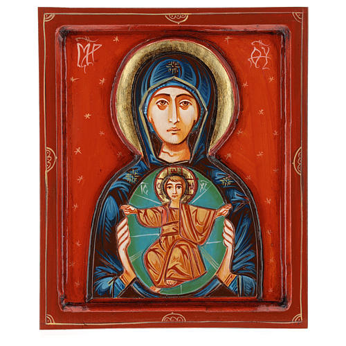 Icona Madonna col Bambino intagliata dipinta a mano Romania 1