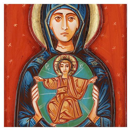 Icona Madonna col Bambino intagliata dipinta a mano Romania 2
