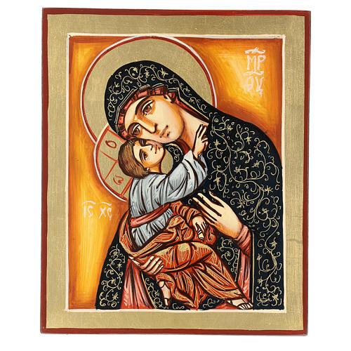 Icona Madonna Bambino sfondo arancio Romania 22x18 cm dipinta 1