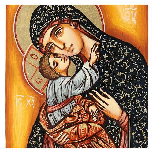 Icona Madonna Bambino sfondo arancio Romania 22x18 cm dipinta 2