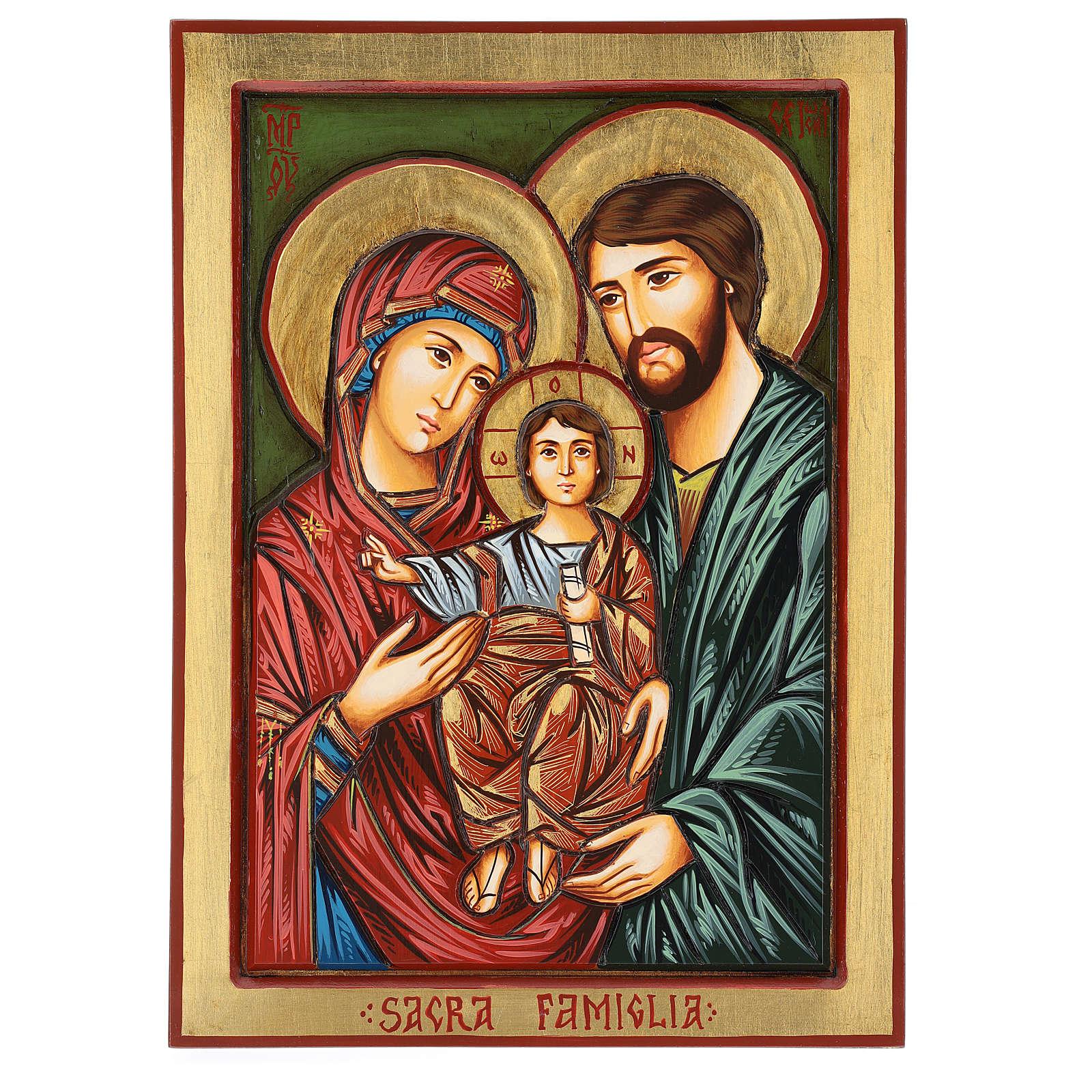 Icône Sainte Famille Roumanie taillée peinte à la main 44x32 cm 4