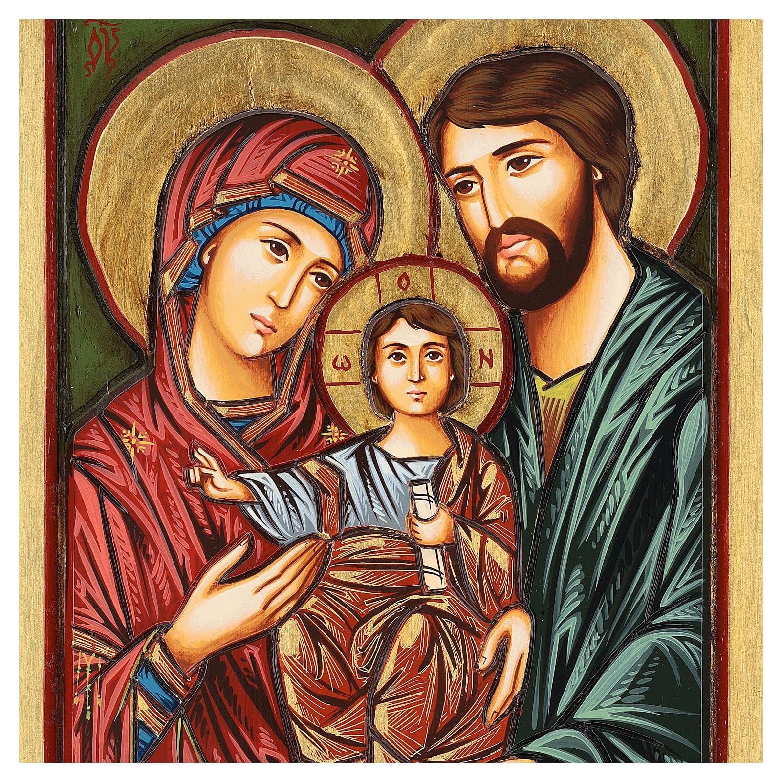 Icona Sacra Famiglia Romania intagliata dipinta a mano 44x32 cm 4