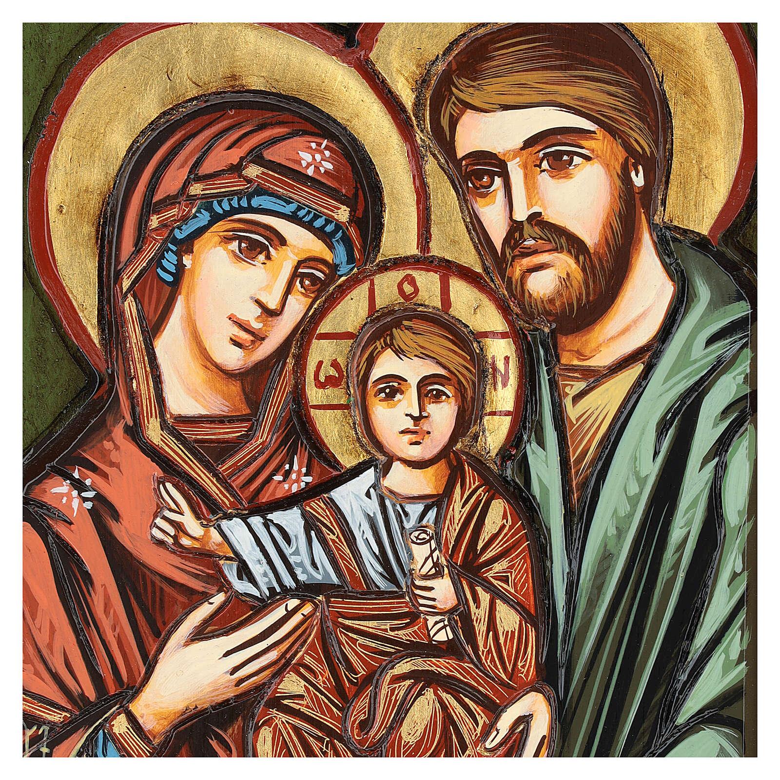 Icono Sagrada Familia tallado 32x22 cm Rumanía 4