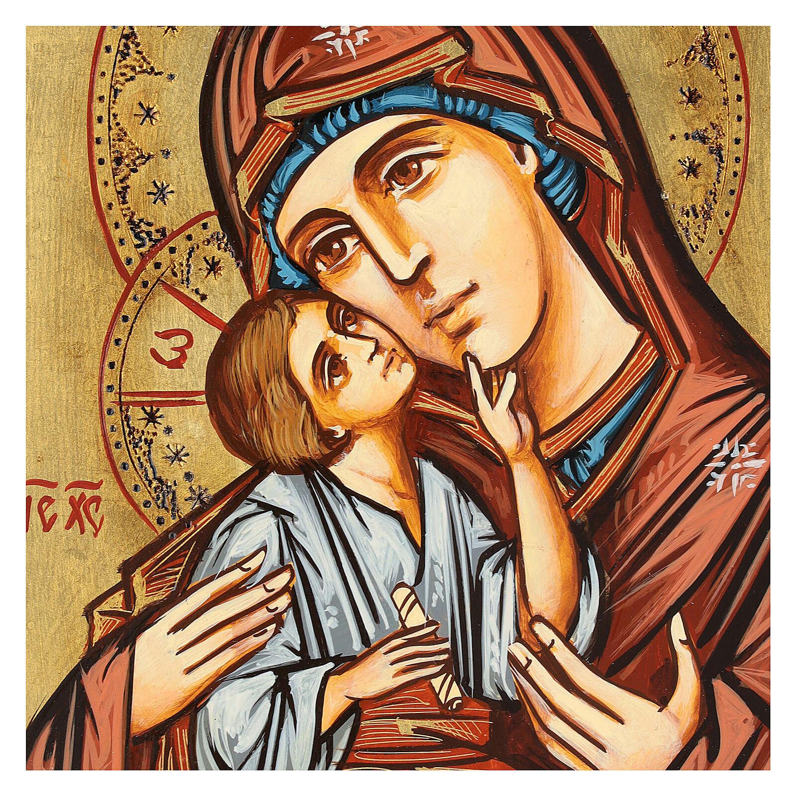 Icono Rumanía Virgen con Niño motivos incisos 4