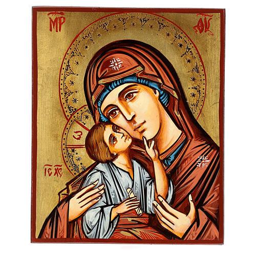 Icono Rumanía Virgen con Niño motivos incisos 1