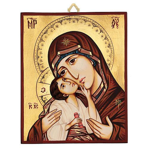 Icono Rumanía Virgen con Niño motivos incisos 3