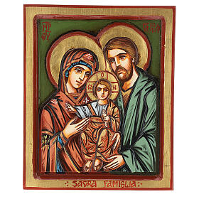 Icono Sagrada Familia madera inciso pintado a mano s1
