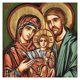 Icono Sagrada Familia madera inciso pintado a mano s2