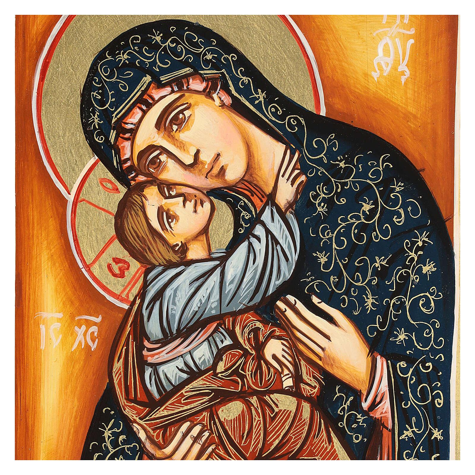 Icono Virgen y Niño capa verde 22x18 cm 4