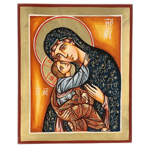 Icona Madonna e Bambino manto verde 22x18 cm 1