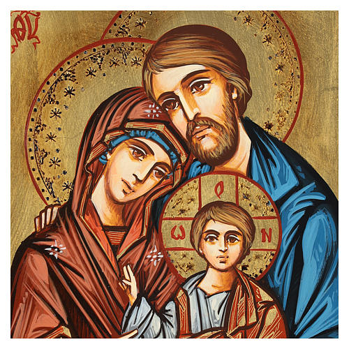 Icona Sacra Famiglia dettagli incisi sfondo oro Romania 2