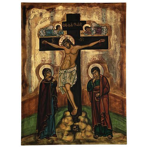 Icona La Crocifissione bizantina Romania 50x40 cm dipinta a mano 1
