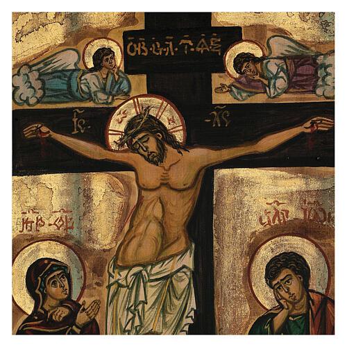Icona La Crocifissione bizantina Romania 50x40 cm dipinta a mano 2