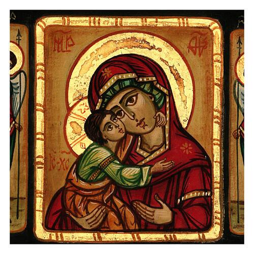 Rumänische Ikone Gottesmutter Vladimirskaya mit Engeln handbemalt, 28x28 cm