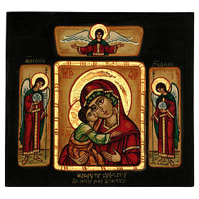 Our Lady of Vladimirskaja icon with angels 28x28 cm painted in Romania
