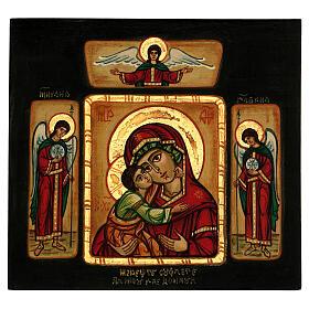 Icône Mère de Dieu de Tendresse Vladimir avec anges 28x28 cm roumaine peinte s1