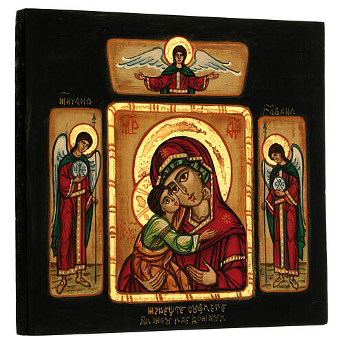 Icône Mère de Dieu de Tendresse Vladimir avec anges 28x28 cm roumaine peinte 3