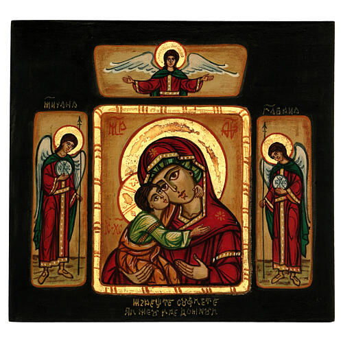 Icona Madre Dio Tenerezza Vladimirskaja con angeli 28x28 cm rumena dipinta 1