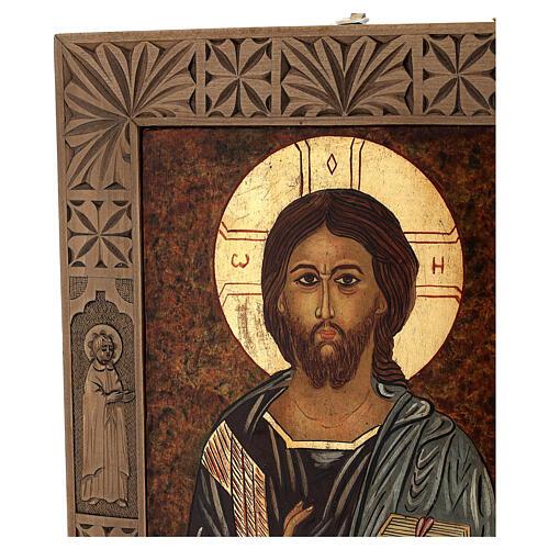 Icona Il Salvatore dipinta in Romania 40x30 cm 3