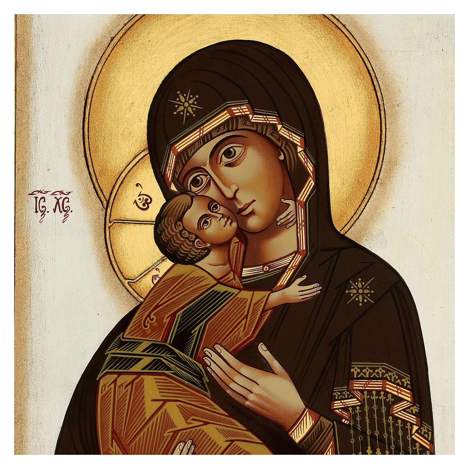 Icône Vierge de Vladimir byzantine 40x30 cm Roumanie peinte 4