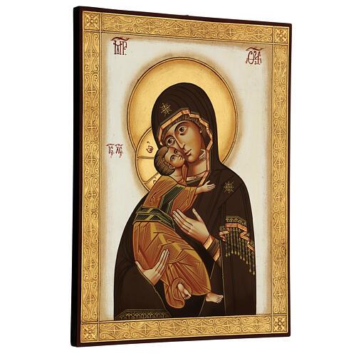 Icône Vierge de Vladimir byzantine 40x30 cm Roumanie peinte 3