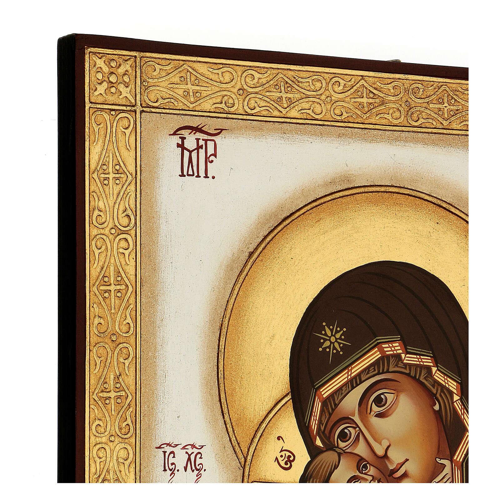 Icona Madonna Tenerezza Vladimirskaja bizantina 40x30 cm Romania dipinta 4