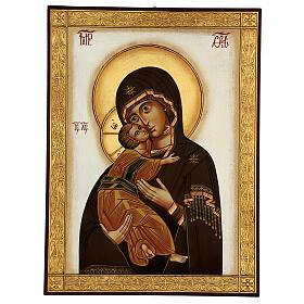 Icona Madonna Tenerezza Vladimirskaja bizantina 40x30 cm Romania dipinta s1