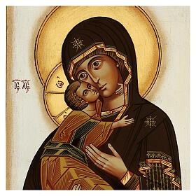 Icona Madonna Tenerezza Vladimirskaja bizantina 40x30 cm Romania dipinta s2