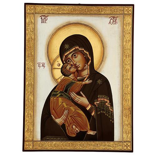 Icona Madonna Tenerezza Vladimirskaja bizantina 40x30 cm Romania dipinta 1