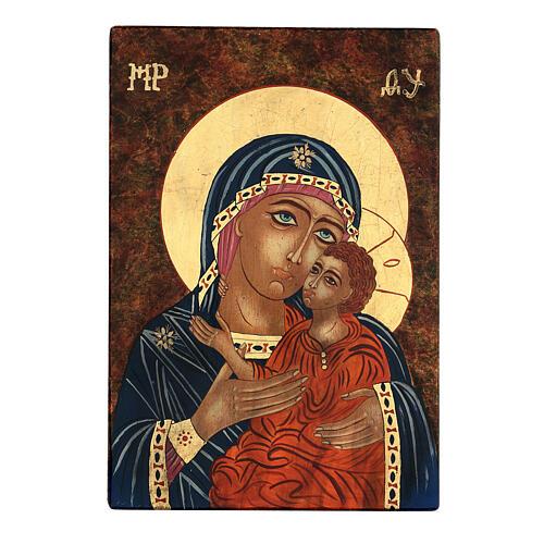 Ícone Nossa Senhora Mãe de Deus Kàsperovskaja estilo bizantino 35x28 cm Roménia pintada