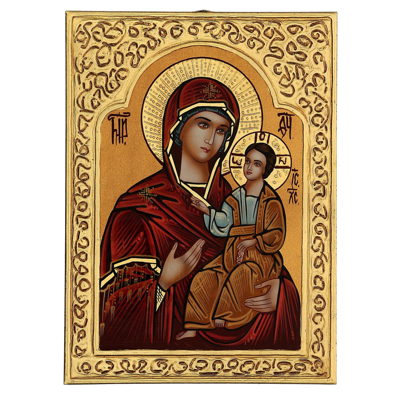 Icona Madre di Dio Hodighìtria-Smolénskaja 30x20 cm dipinta Romania 4