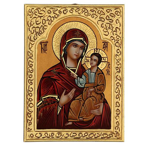 Icona Madre di Dio Hodighìtria-Smolénskaja 30x20 cm dipinta Romania 1