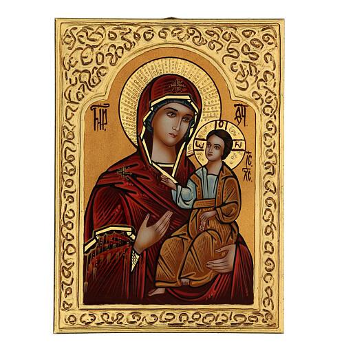 Icona Madre di Dio Hodighìtria-Smolénskaja 30x20 cm dipinta Romania 2