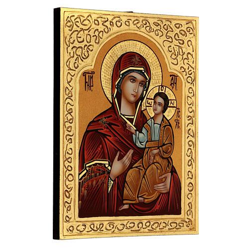 Icona Madre di Dio Hodighìtria-Smolénskaja 30x20 cm dipinta Romania 3
