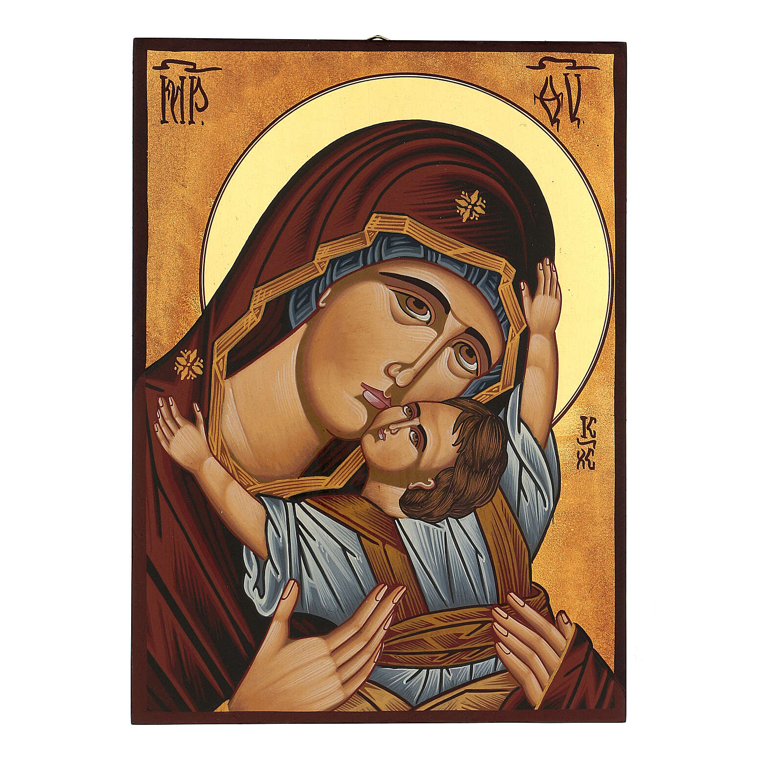 Icône Mère de Dieu de Mourom peinte Roumanie 30x20 cm 4