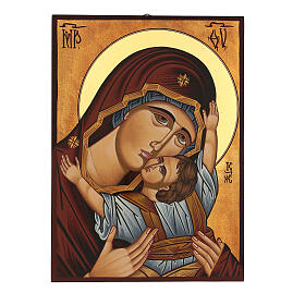 Icône Mère de Dieu de Mourom peinte Roumanie 30x20 cm s1