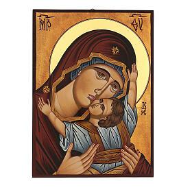 Icona Madre di Dio Muromskaja dipinta Romania 30x20 cm s1