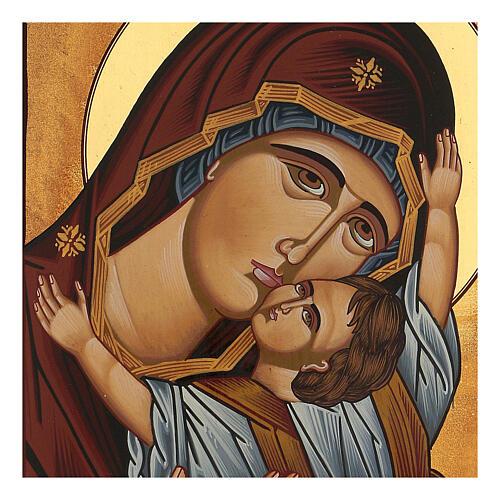 Icona Madre di Dio Muromskaja dipinta Romania 30x20 cm 2