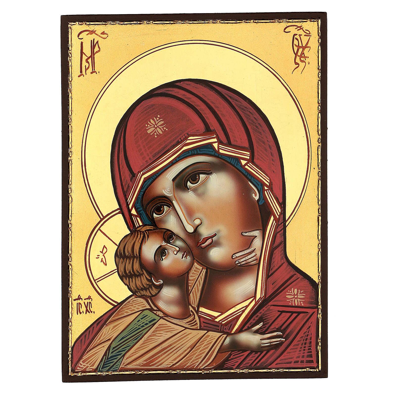 Icona Madonna Tenerezza Vladimirskaja 30x25 cm rumena dipinta 4