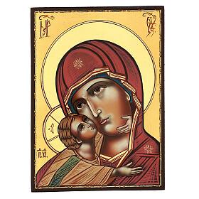 Icona Madonna Tenerezza Vladimirskaja 30x25 cm rumena dipinta s1
